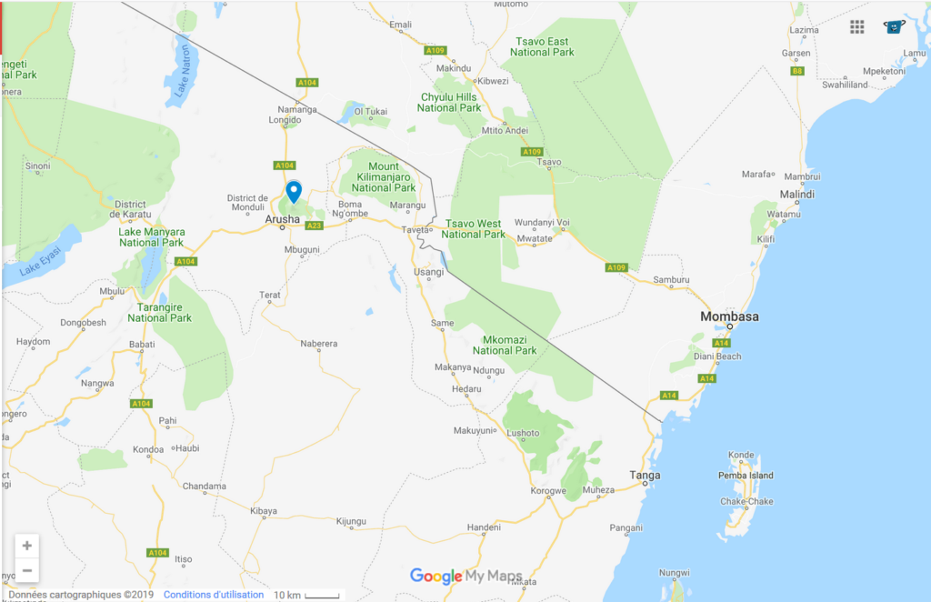 Mont Meru safaris Map - Kisengo Safaris