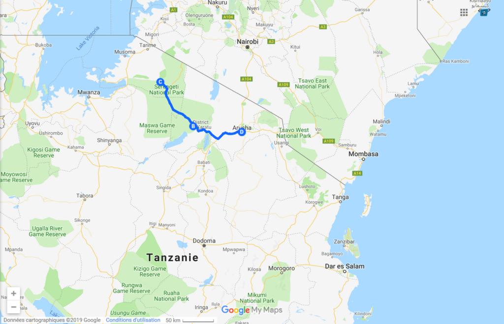 Serengeti - Ngorongoro excursion map - Kisengo Safaris